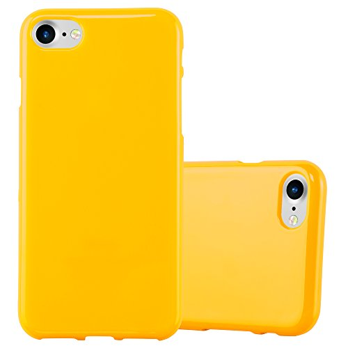 Cadorabo Hülle für Apple iPhone 7 / iPhone 7S / iPhone 8 - Hülle in Jelly GELB - Handyhülle aus TPU Silikon im Jelly Design - Silikonhülle Schutzhülle Ultra Slim Soft Back Cover Case Bumper