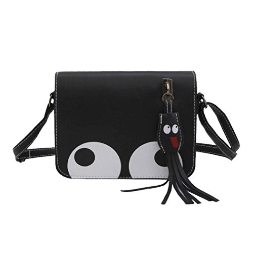 Kangrunmy borse patrizia pepe tracolla,donna ciondolo in pelle crossbody bag borsa portamonete borsa telefono (nero)
