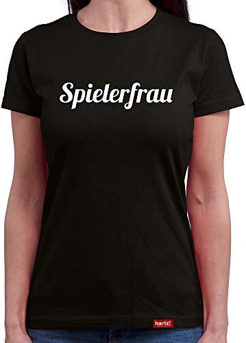HARIZ  Damen T-Shirt Rundhals Spielerfrau Weltmeisterschaft Trikot WM Gratis Bang Sticks Deutschland Fussball Collection Black XL