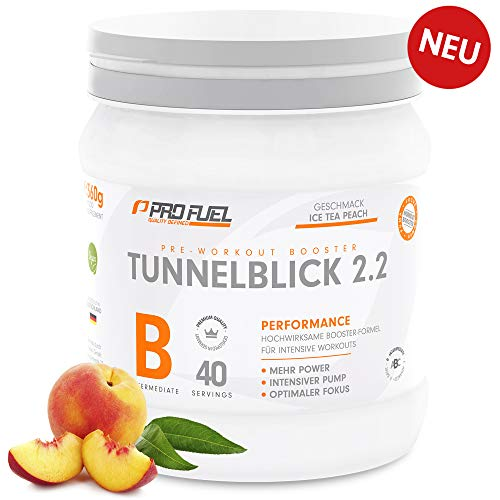 TUNNELBLICK 2.2 | Power • Fokus • Pump | Pre Workout Booster | DAS ORIGINAL von ProFuel | mit Guarana, Beta-Alanin & Tyrosin | 360g – 40 Portionen | GREEN APPLE (Grüner Apfel)