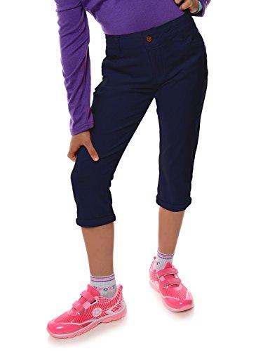 Mädchen Kinder Kurze Hose Strech Capri 3/4 Stoff Shorts Skinny 22142, Farbe:Navy, Größe:128