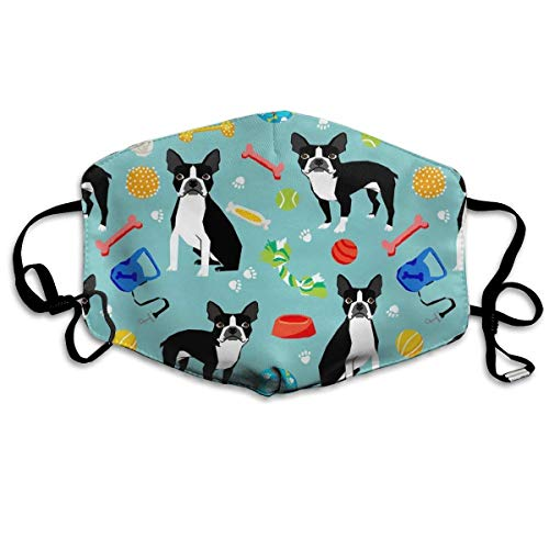 Boston Terrier Toys Dog Fashion Reusable Cotton Face Dust Mouth Mask,Washable Outdoor Sports Face Masks with PM2.5 Carbon Filter Masks for Pollen,Flying,Allergies,Smoke, -