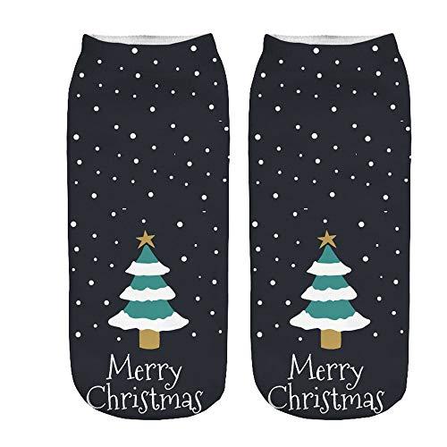 OSYARD Christmas Füßlinge Socken Sportsocken Damen, Frauen Weihnachten 3D Karikatur Drucken Nette Söckchen Kurze Baumwollsocken StricksockeWintersocken Knöchelsocken Kuschelsocken Haussocken
