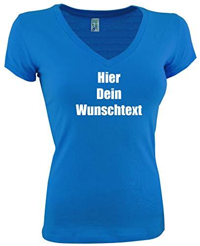 Damen T-Shirt V-Auschnitt Bedrucken mit dem Amazon Tshirt Designer. T-Shirt selber gestalten. T-Shirt Druck. T-Shirt mit Wunschtext. T Shirts sind Ökotex-100 Zertifiziert. Blau L - Personalisierte Geburtstags-shirt