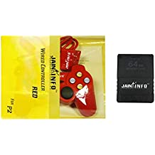 """Jain Info™ Branded PS2 Wired Controller (Red Color) with 64-MB Memory Card - - Compatible with PS2 Console(***Not Suitable for Mobile/PC/Laptop/TV or Any Other). Generic (""""Wholesale Bulk Deal"""")"""
