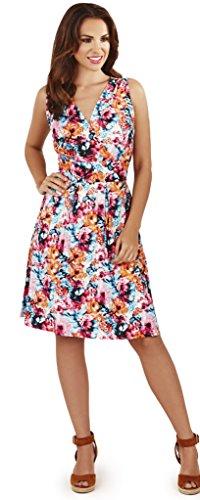 Ladies Multicoloured Floral Knee Length V Neck Summer Dress, Various Styles
