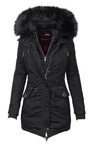 Marikoo Damen Designer Winter Jacke warme Winterjacke Parka Mantel B390 [B390-Rose-Schwarz-Gr.XL]