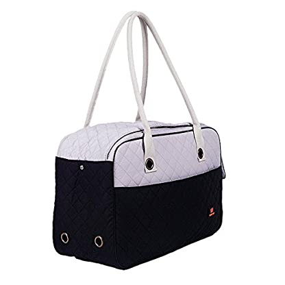 Pet Carrier Tote Bag - DODO Pet Carrier Soft Sided Cat Dog Tote Bag Hand bag Black white Small 2
