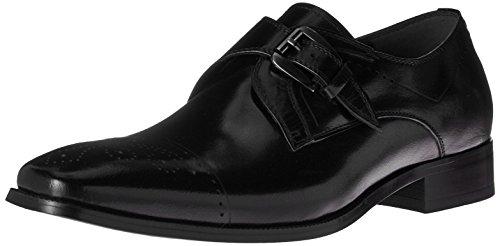 STACY ADAMS Men's Kimball-Cap Toe Monk Strap Slip-On Loafer, Black, 11 M US Cap Toe Loafer
