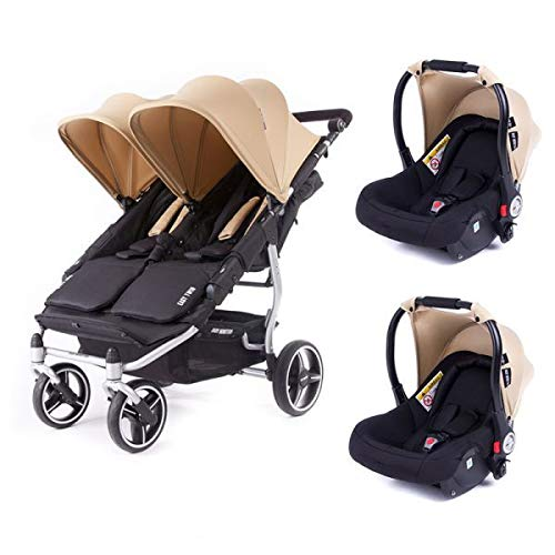 Poussette double Baby Monsters Easy Twin 3S Reversible - Chassis Silver + 2 sièges auto Luna Sable