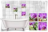 Medianlux Sticker pour carrelage Motif orchidées Violet/Rose, 25x25cm