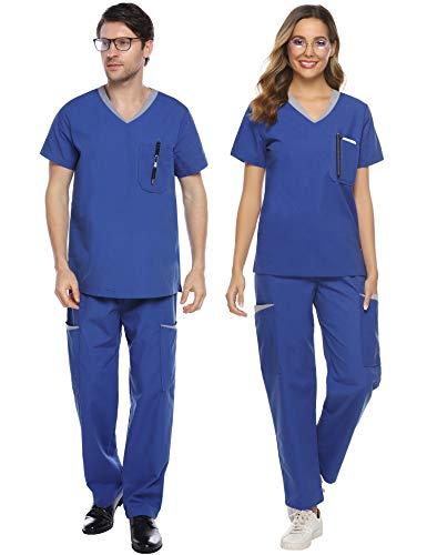Abollria Unisex Medizinische Uniform Schrubb Set aus Baumwollemix Schlupfkasack+Schlupfhose mit vielen Taschen für Medizin Pflege Krankenhaus,Blau für Frauen,L