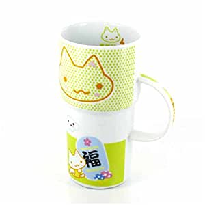 Grand mug japonais kawaii vert d co chat rigolo sa for Decoration cuisine kawaii