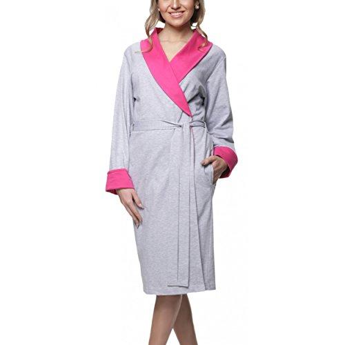 Aquarti Damen Morgenmantel Baumwolle Kimono, Farbe: Melange / Pink, Größe: XL
