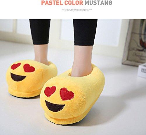 HMMJ Cartoon peluche Slipper Espressione pantofole, Inverno Caldo Casa antiscivolo Scarpe Unisex (Cacca) Cuore