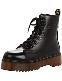 ZHRUI Mujeres Zapatos Retro Botas de algodón Botas de Lana Interior con  Cordones Antideslizante talón Grueso Caballero Martin Botas (Color… 10cbc8257954