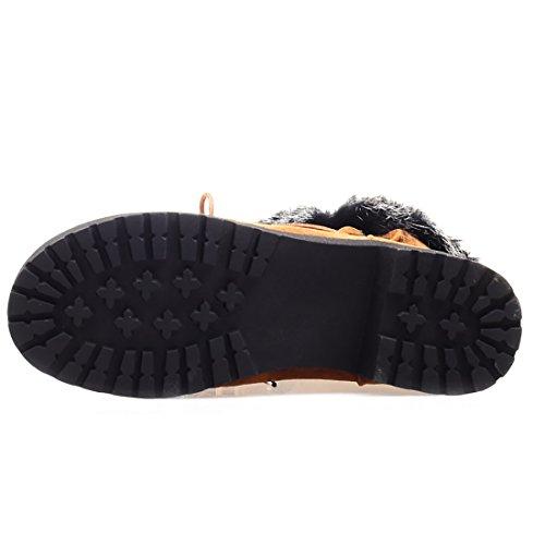 avec à Conforts Talon Bottines Mode Fell Clair Femmes UH Chaud en Lacets et Plates Chaussures de Marron Nubuck qSwI1gH