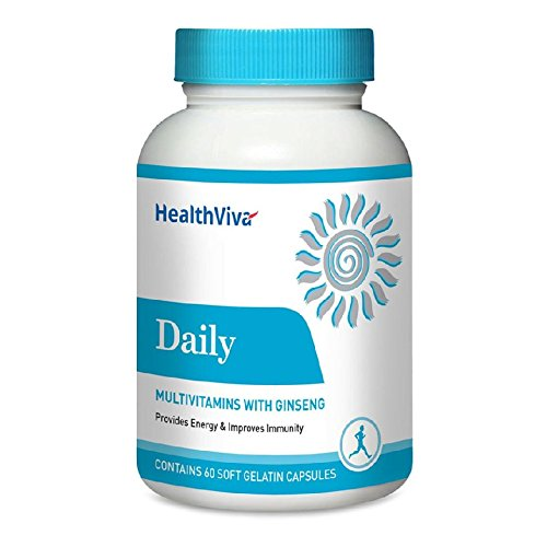 HealthViva Daily (multivitamin with Ginseng), Unflavoured 60 capsules  available at amazon for Rs.249