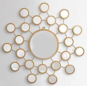 Furnish Craft Circular Shaped Unique Design Golden Glass Wall Mirror with Multi Small Mirrors (27 x 27 Inch, Golden)