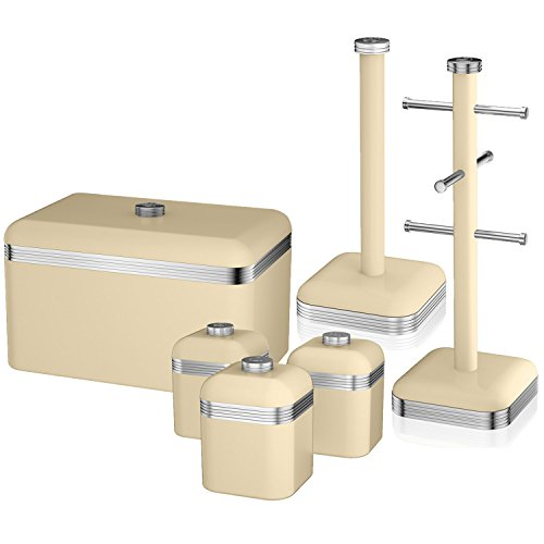 Swan Retro Towel Pole 6 Cup Mug Tree Bread Bin And 3 Piece Canister Set Cream