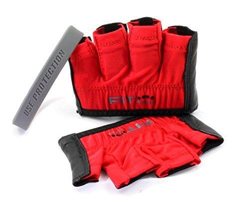 Unisex Premium Leder (Der anti-ripper Handschuh   Fit Vier Hornhaut Guard Fitness Handschuhe für Gewichtheben & Kreuz Training Athleten-PREMIUM Leder Palm, unisex, Anti-ripper, Blood Red & Black)