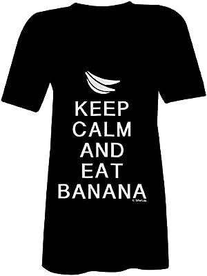 KEEP CALM and eat Banana ? T-shirt à col V pour femmes ? imprimé de haute qualité et slogan amusant ? Le cadeau parfait en toute occasion