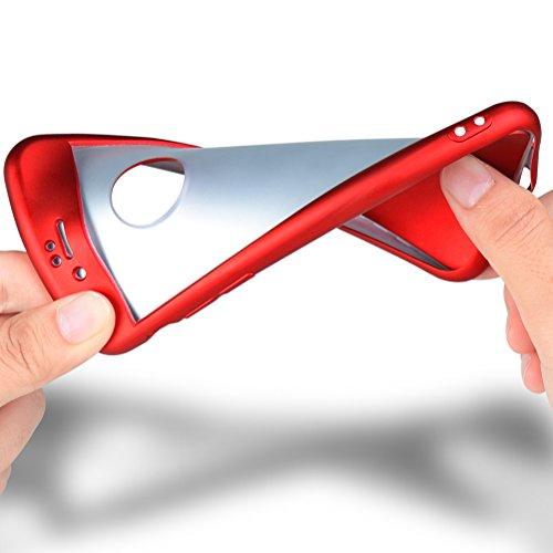 HICASER iPhone SE 360 Grad Hülle + Panzerglas, Komplettschutz Vorder und Rückseiten Schutz Schale Ganzkörper-Koffer Soft TPU Schutzhülle für iPhone 5 / 5s Rot Rot