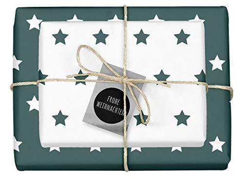 """4x zweifarbiges Geschenkpapier\""""Weihnachten: Sterne grün-weiß\"""" + 4x Anhänger\""""edel, silber-schwarz\"""" (doppelseitige Bögen DIN A2, Öko-Recycling-Papier)"""