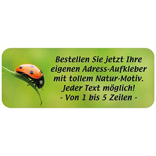"""Adress-Etiketten - Adress-Aufkleber """"Marienkäfer"""" mit Wunschtext, 160 Stück, ca. 56 x 23 mm, für 1 bis 5 Zeilen"""