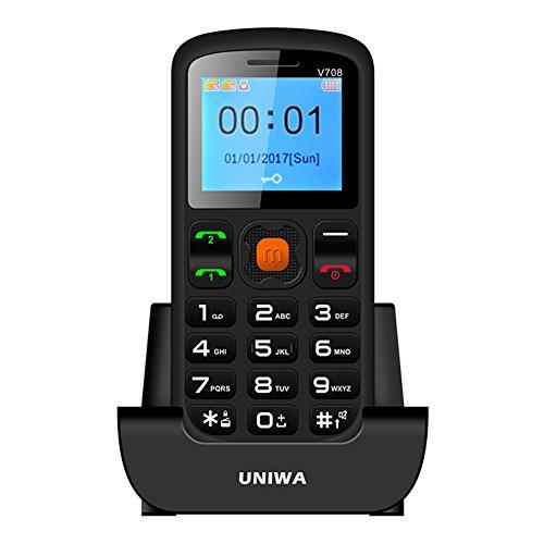Seniorenhandy Großtasten Handy UNIWA V708 Schnurlos mit beleuchteten großen Tasten Ladestation großes Farbdisplay ohne Vertrag Bluetooth Dual SIM Notruf FM Radio, Schwarz