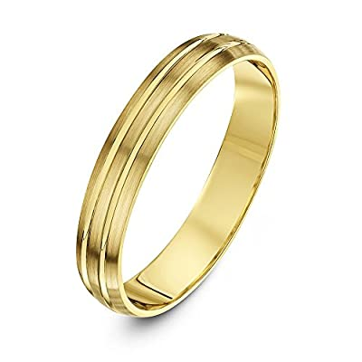 Theia 9ct Gold Super Heavy Weight D Shape Matt with Two Polished Grooves Wedding Ring for Men or Women