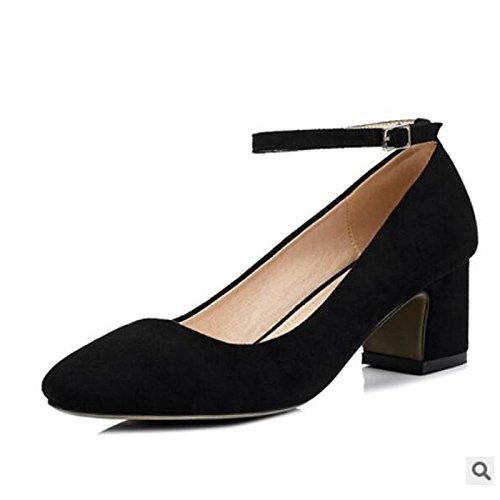 Dimaol Zapatos De Mujer Summer Comfort Fleece Chunky Heels Cerrado Dedo Del Pie Para Exterior Casual Pink Purple Green Black Grey Black