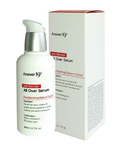 [ANSWER NINETEEN+] Anti Blemish All Over Serum – Minimize Skin Irritation with Ecocert Certified Ingredients, Pore Care, Peeling, Sebum...
