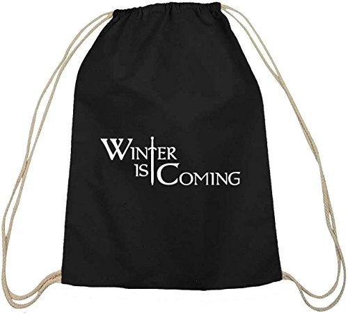 Shirtstreet24, Inverno Inverno Sta Arrivando, Cotone Natura Zaino Borsa Sportiva Borsa Nera Natura