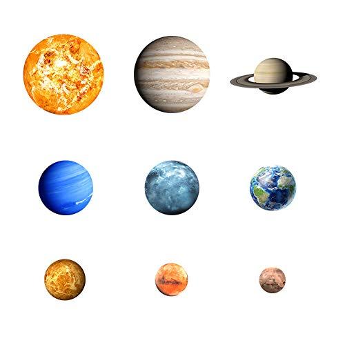Adesivo da parete luminoso. adesivi d'arte con 9-planet solar system pattern wall sticker decorazione della parete di casa per soggiorno camera da letto per bambini