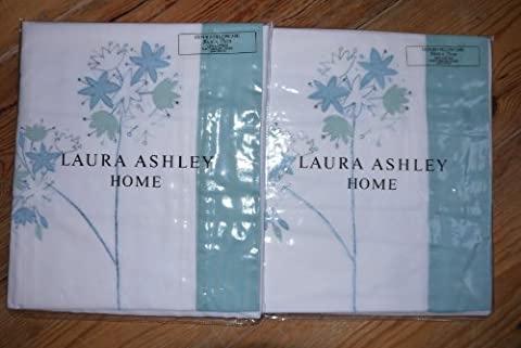 Set of 2 x NEW LAURA ASHLEY Pillow Cases Agapanthus Floral Green/Teal/White Pillowcase Bed Linen