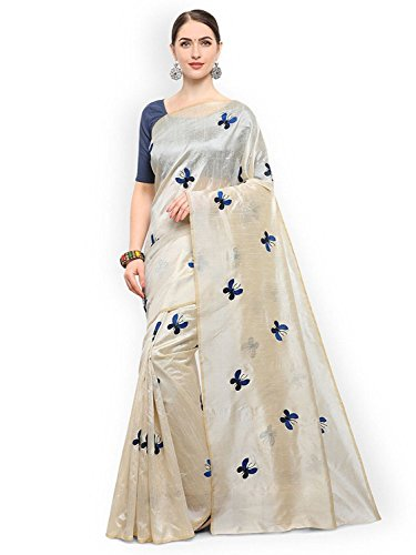 Fashion and Hub Cotton Silk Saree With Blouse Piece (New Collection Saree l9_White Blue_Free Size)