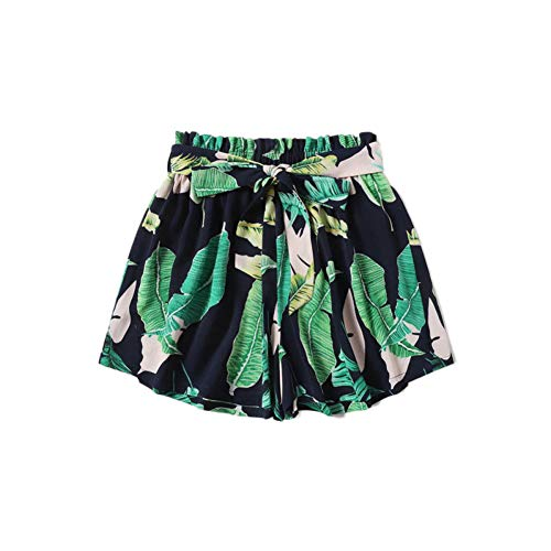DBLSHA Bohemian Belted Paperbag Taille Tropical Print Shorts Frauen Strand Urlaub Lässige Elastische Taille Sommer Shorts -