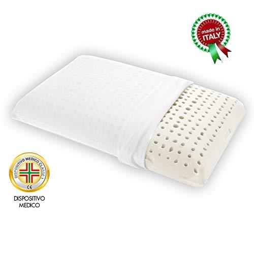 Goldflex ergonomisches Kissen aus Latex natur Hoch 17 cm, Form A Seifenschale, Lochung Gürtelschlaufe, Unterstützung wichtig + atmungsaktiv, antiallergisch, Milben Schutzbezug Frischer Baumwolle 100% -