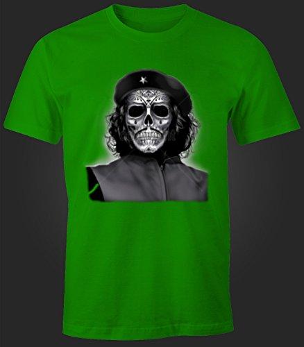 Herren T-Shirt Che Guevara Maske Totenkopf Grün