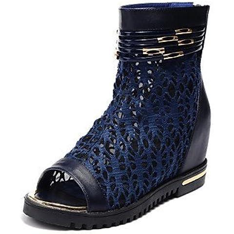 Mujer PeepToe Zapatos Cómodo tela plana talón Peep Toe Botines Casual Shoes
