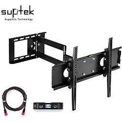 """Suptek Staffa di montaggio a parete TV per TV da 26"""" a 55"""" LCD Plasma 3D TV con VESA fino a 400x400, Full Motion Braccio con braccio lungo con cavo HDMI e livello di bolla MA109S"""