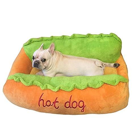 Lit d'animal familier Hot Dog Type Puppy Cat Matelas doux