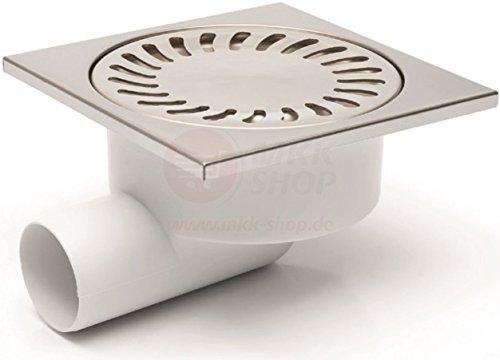 Plaque duschablauf caniveau de douche en acier inoxydable 150 x 150 mm dN 50/95 mm-profondeur d'encastrement 326N siphon de vidange siphon plat drain pour baignoire douche en 15 x 15 cm acier inoxydable
