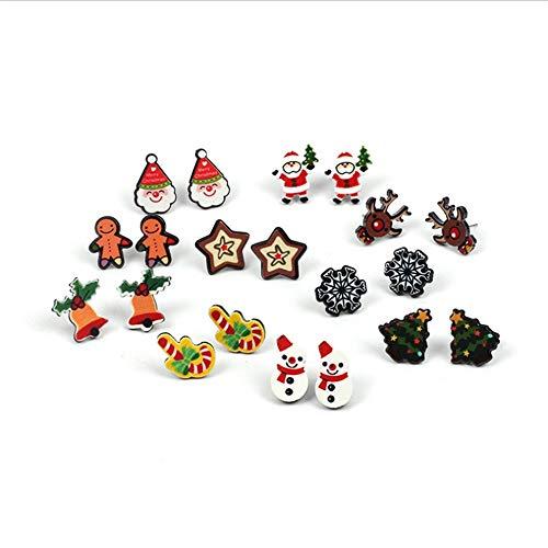 Gioielli di moda orecchini di alta qualità 10 paia di orecchini a forma di perline natalizie gioielli per le vacanze per le ragazze delle ragazze bambini ragazzi Babbo Natale cervi albero di natale ca