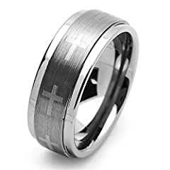 Idea Regalo - Piccoli Tesori - Anello Banda - Tungsteno Croce (9MM )