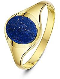 Theia Men's 9 ct Yellow Gold Oval Shape Onyx, Hematite, Jade or Lapis Stone Signet Ring,10 x 8 mm