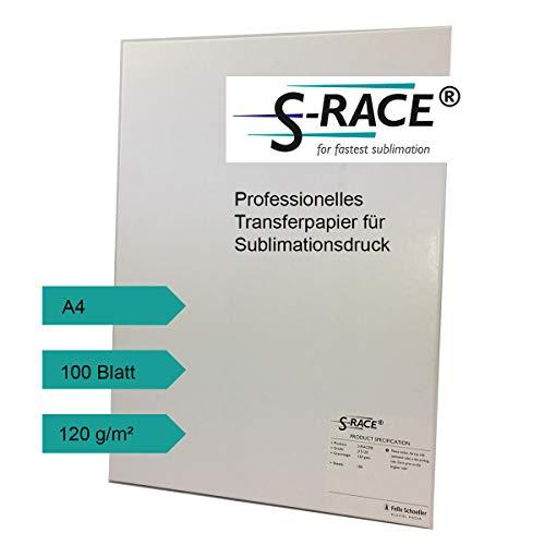 S-RACE Sublimationspapier DIN A4 100 Blatt 120g/m² für Inkjet Drucker -