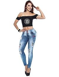 Pantalon Vaquero De Mujer Jeans Push-up Levanta Cola Colombiano Elástico Ajustado con Desgastes