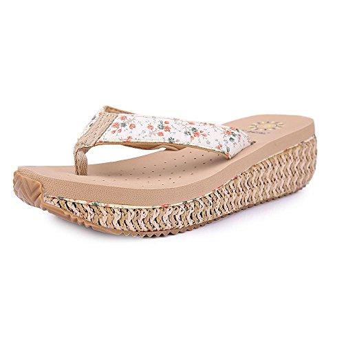 Grace Scarpe Tacco a Zeppa di Vibrazione delle Donne Flop Sandali di Svago Più Colori tra cui Scegliere 9560 beige